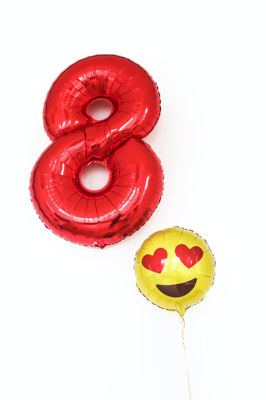 colorful balloons in shape of number eighty